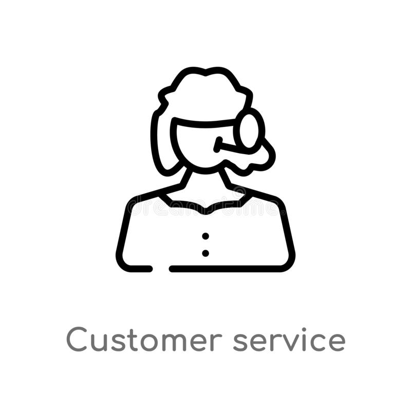 Outline customer service vector icon. isolated black simple line element illustration from  concept. editable vector stroke. Customer service icon on white royalty free illustration