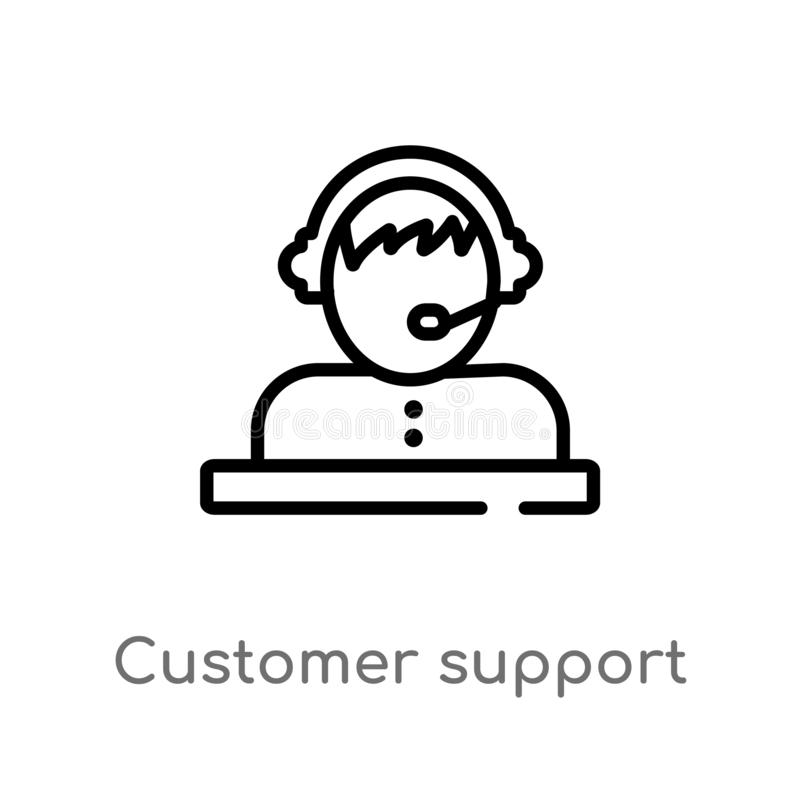 outline customer support vector icon. isolated black simple line element illustration from strategy concept. editable vector vector illustration