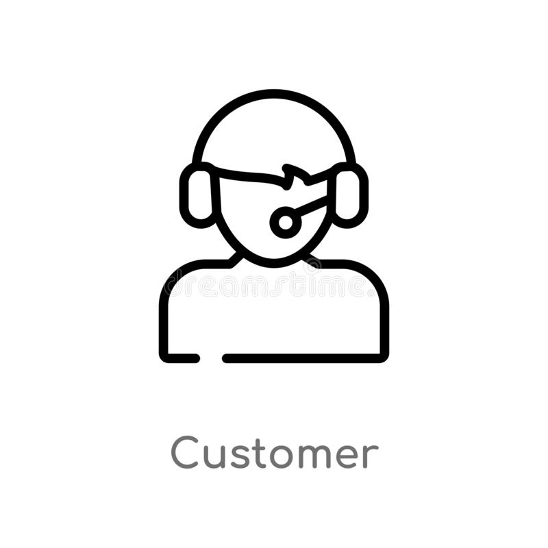 outline customer vector icon. isolated black simple line element illustration from strategy concept. editable vector stroke royalty free illustration