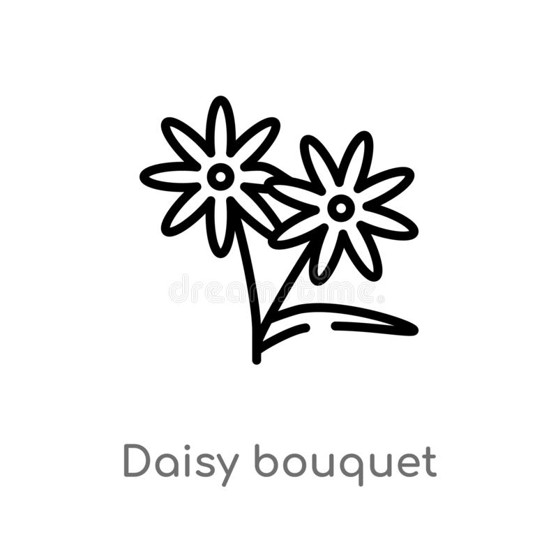 outline daisy bouquet vector icon. isolated black simple line element illustration from general concept. editable vector stroke stock illustration