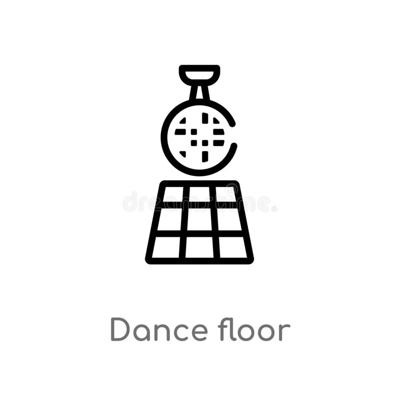 outline dance floor vector icon. isolated black simple line element illustration from discotheque concept. editable vector stroke stock illustration