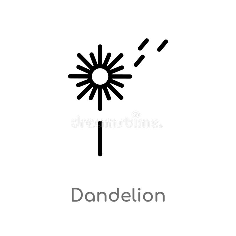 Outline dandelion vector icon. isolated black simple line element illustration from nature concept. editable vector stroke. Dandelion icon on white background royalty free illustration