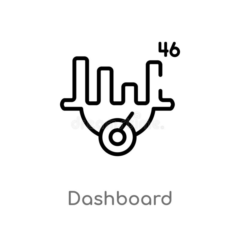 Outline dashboard vector icon. isolated black simple line element illustration from customer service concept. editable vector. Stroke dashboard icon on white royalty free illustration