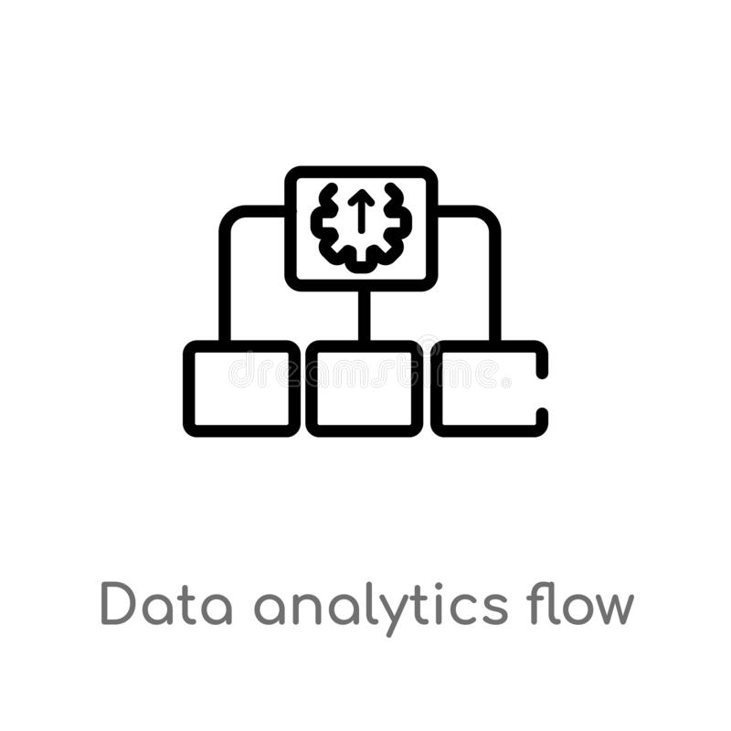 Outline data analytics flow chart vector icon. isolated black simple line element illustration from user interface concept. Editable vector stroke data royalty free illustration