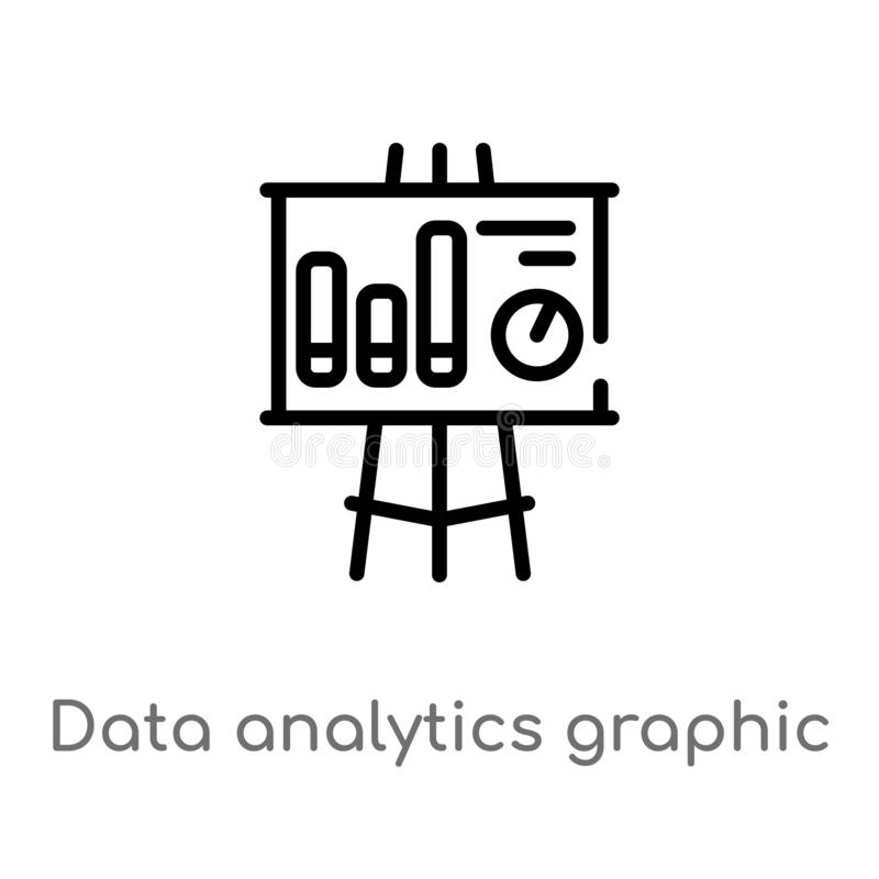 Outline data analytics graphic on a presentation screen vector icon. isolated black simple line element illustration from business. Concept. editable vector vector illustration
