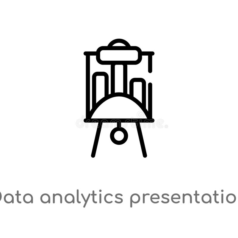 Outline data analytics presentation screen vector icon. isolated black simple line element illustration from business concept. Editable vector stroke data royalty free illustration