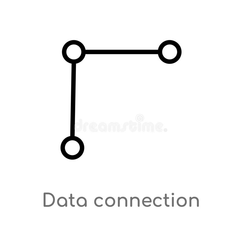 Outline data connection vector icon. isolated black simple line element illustration from user interface concept. editable vector. Stroke data connection icon royalty free illustration