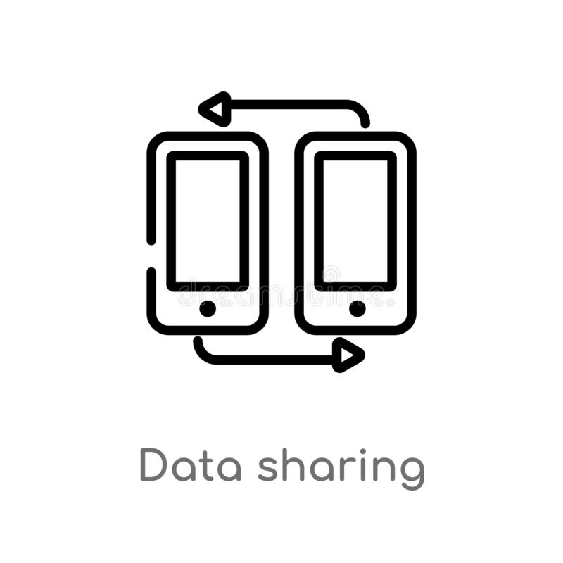 outline data sharing vector icon. isolated black simple line element illustration from multimedia concept. editable vector stroke vector illustration