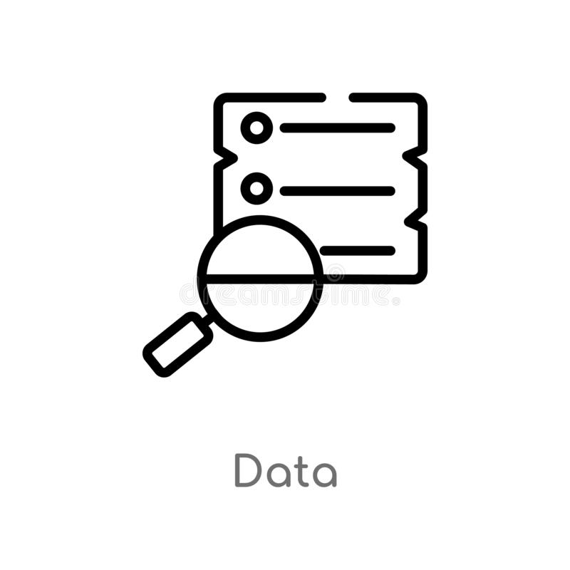 outline data vector icon. isolated black simple line element illustration from strategy concept. editable vector stroke data icon royalty free illustration