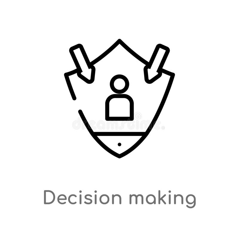 Outline decision making vector icon. isolated black simple line element illustration from gdpr concept. editable vector stroke. Decision making icon on white stock illustration