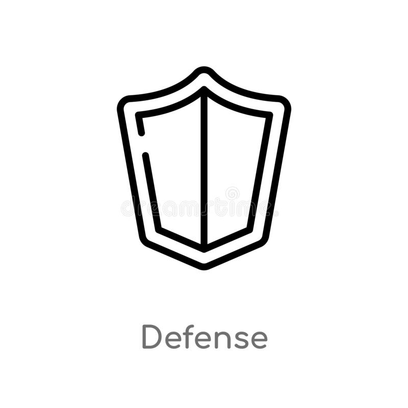 outline defense vector icon. isolated black simple line element illustration from law and justice concept. editable vector stroke royalty free illustration