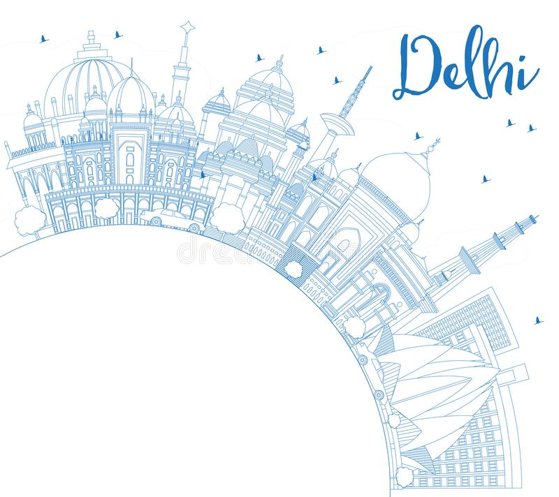 Outline Delhi India City Skyline with Blue Buildings with Copy S. Pace. Vector Illustration. Business Travel and Tourism Concept with Historic Architecture royalty free illustration