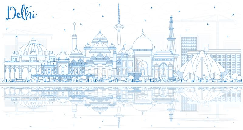 Outline Delhi India City Skyline with Blue Buildings and Reflect. Ions. Vector Illustration. Business Travel and Tourism Concept with Historic Architecture vector illustration