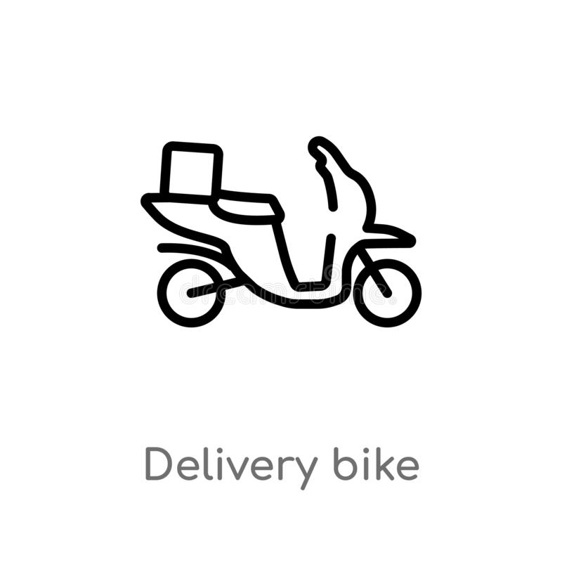 outline delivery bike vector icon. isolated black simple line element illustration from transport concept. editable vector stroke royalty free illustration