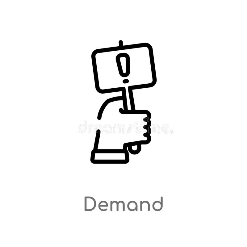 outline demand vector icon. isolated black simple line element illustration from marketing concept. editable vector stroke demand royalty free illustration