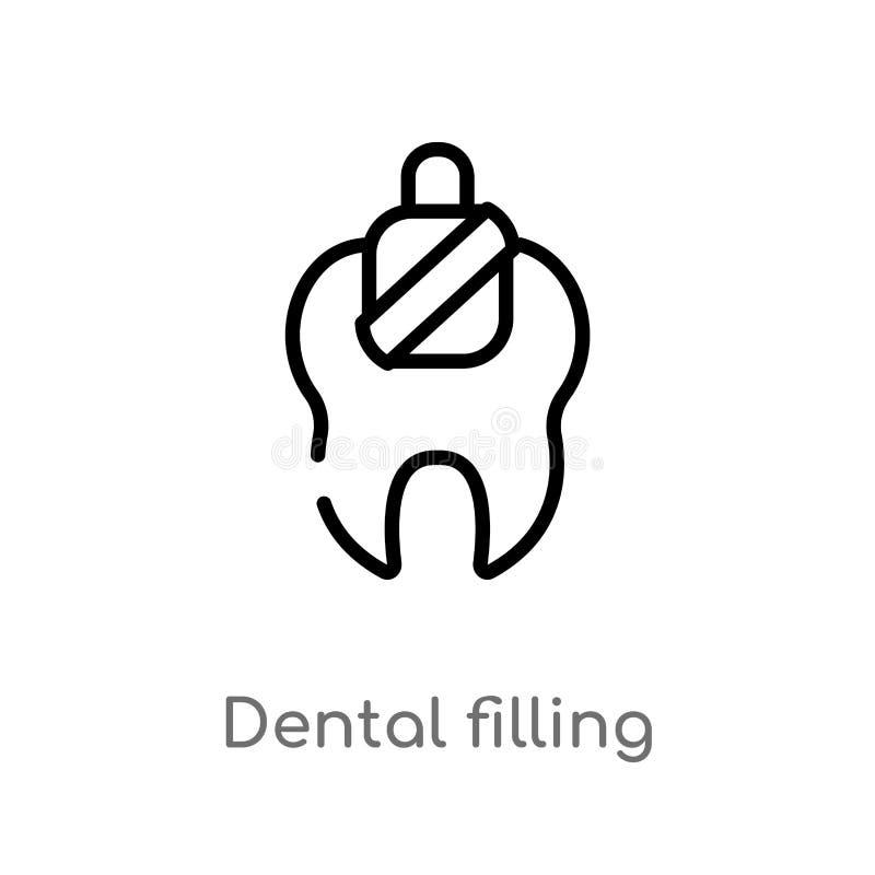 outline dental filling vector icon. isolated black simple line element illustration from dentist concept. editable vector stroke stock illustration