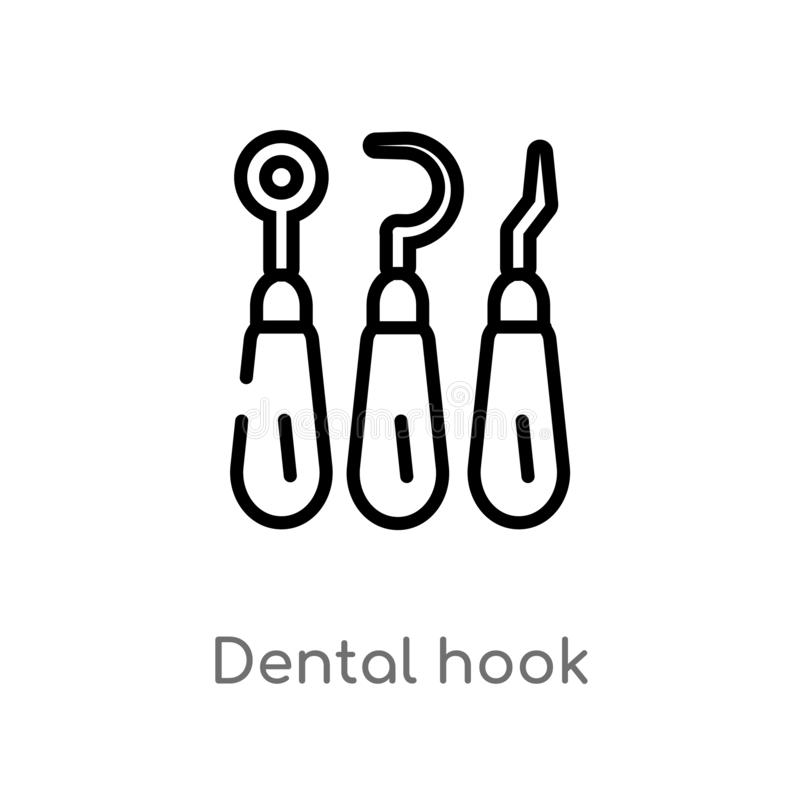 outline dental hook vector icon. isolated black simple line element illustration from dentist concept. editable vector stroke vector illustration