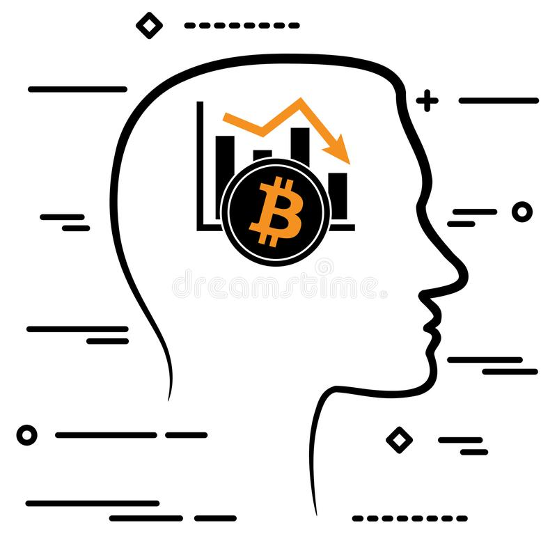Outline design icon with human head and black linear bitcoin cry. Ptocurrency graph going down stock illustration