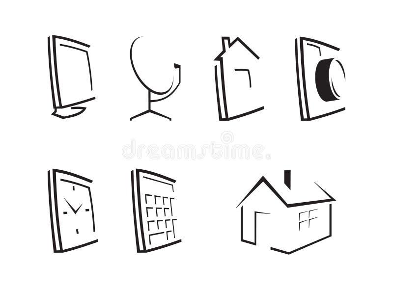 Outline desktop icons. Set of seven computer icons stock illustration