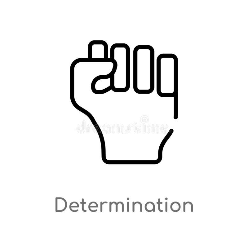 Outline determination vector icon. isolated black simple line element illustration from nature concept. editable vector stroke. Determination icon on white royalty free illustration
