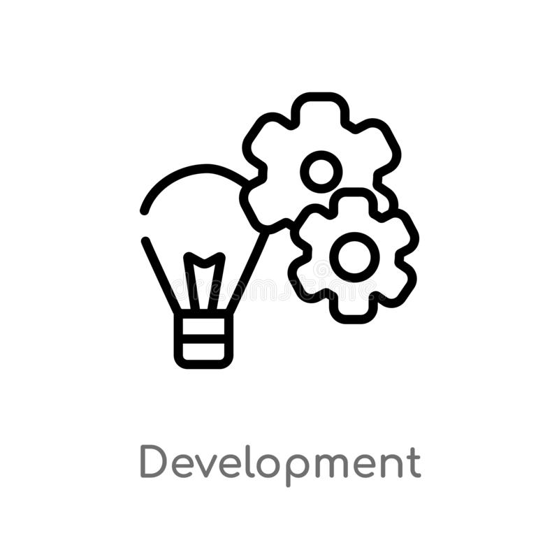 outline development vector icon. isolated black simple line element illustration from social media marketing concept. editable stock illustration