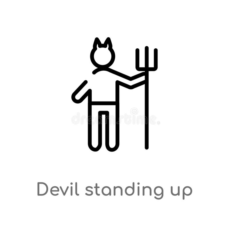 outline devil standing up vector icon. isolated black simple line element illustration from people concept. editable vector stroke vector illustration