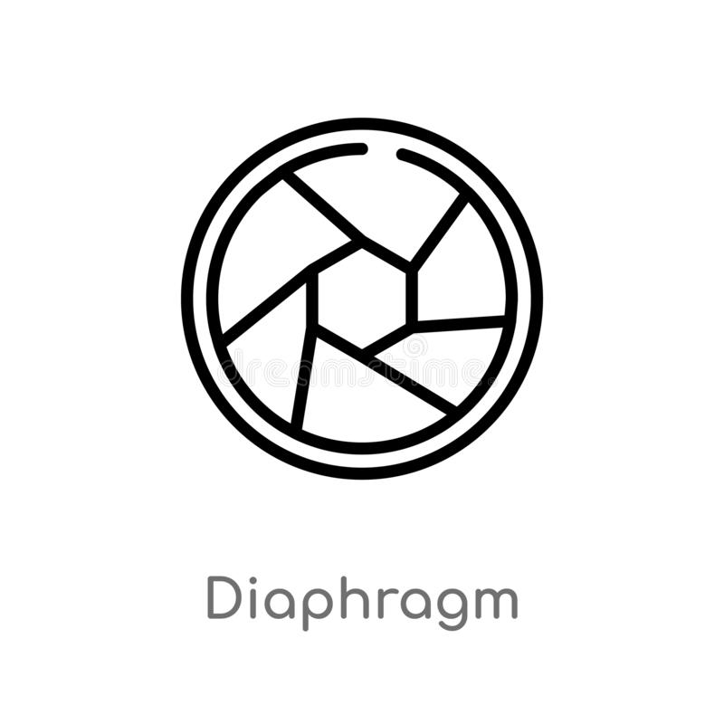outline diaphragm vector icon. isolated black simple line element illustration from multimedia concept. editable vector stroke vector illustration