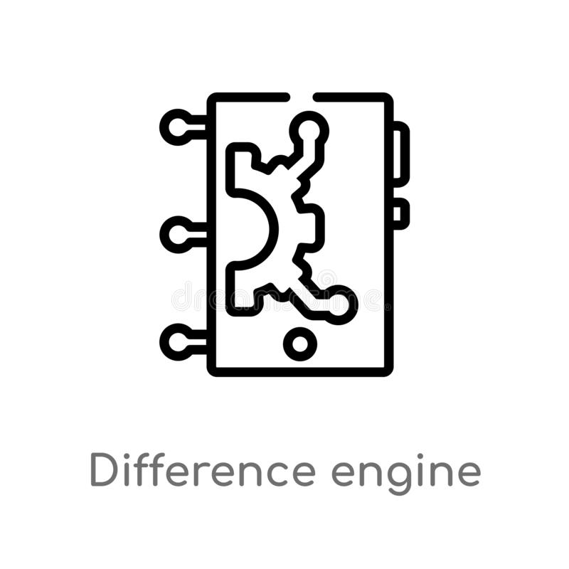 outline difference engine vector icon. isolated black simple line element illustration from artificial intellegence concept. stock illustration