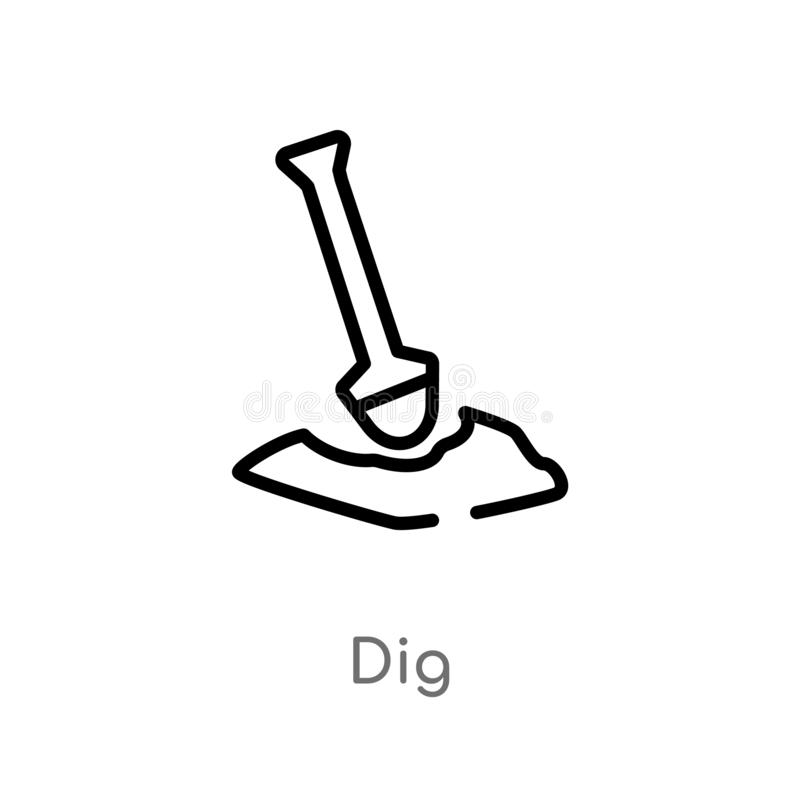 Outline dig vector icon. isolated black simple line element illustration from gardening concept. editable vector stroke dig icon. On white background royalty free illustration