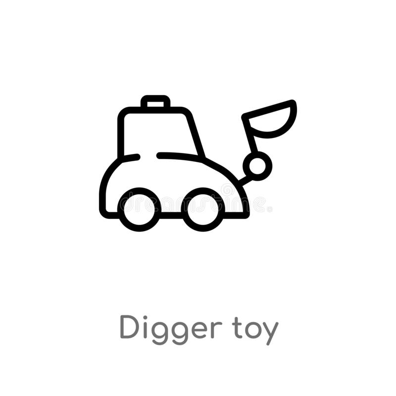outline digger toy vector icon. isolated black simple line element illustration from toys concept. editable vector stroke digger vector illustration