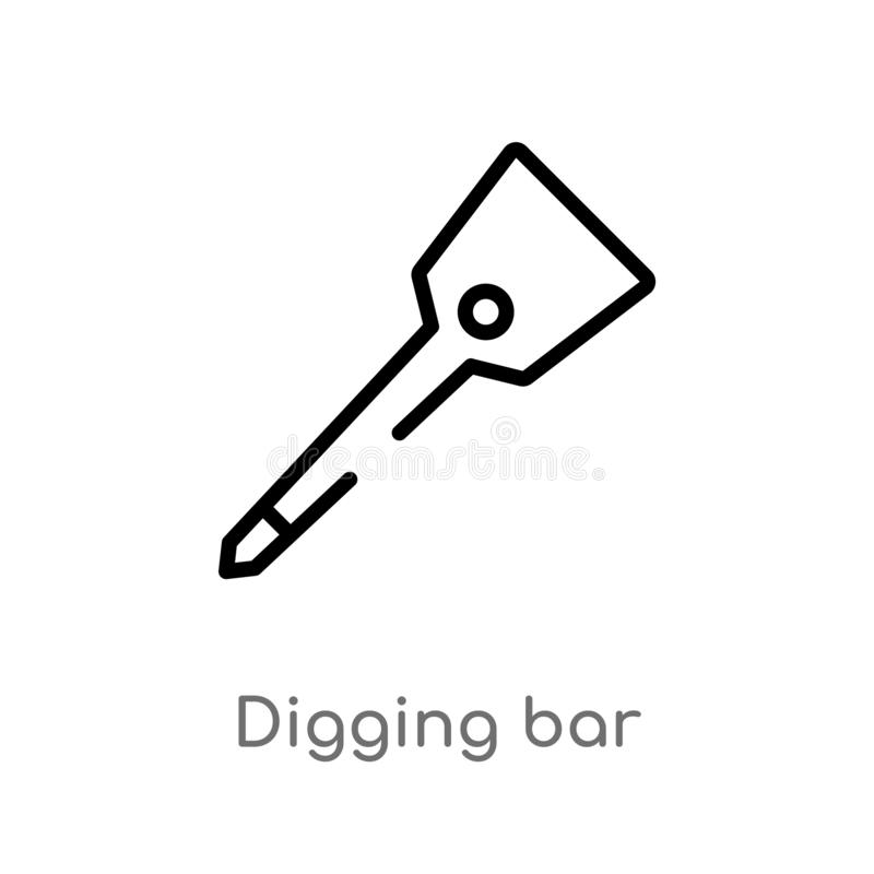 Outline digging bar vector icon. isolated black simple line element illustration from farming and gardening concept. editable. Vector stroke digging bar icon on vector illustration
