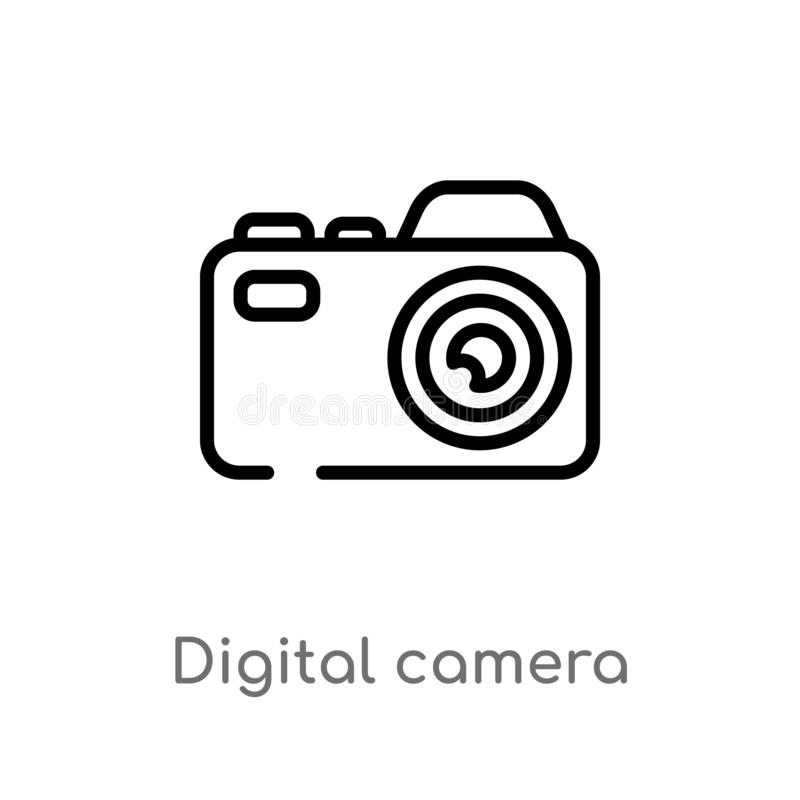 Outline digital camera vector icon. isolated black simple line element illustration from electronic stuff fill concept. editable. Vector stroke digital camera royalty free illustration