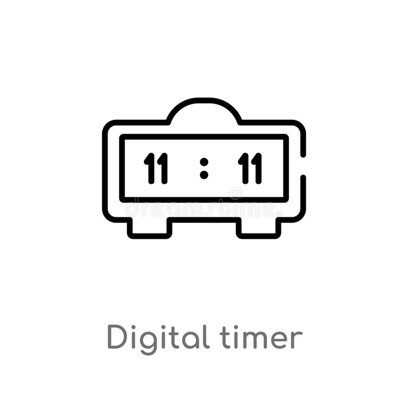 outline digital timer vector icon. isolated black simple line element illustration from education concept. editable vector stroke stock illustration