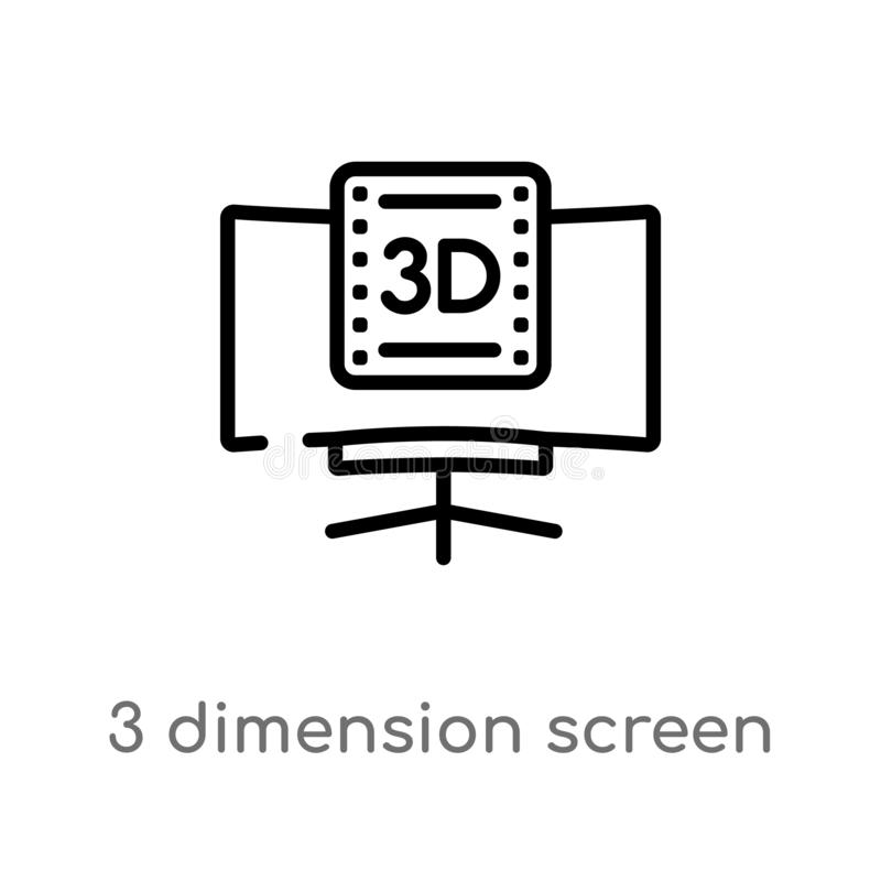 Outline 3 dimension screen vector icon. isolated black simple line element illustration from cinema concept. editable vector. Stroke 3 dimension screen icon on stock illustration