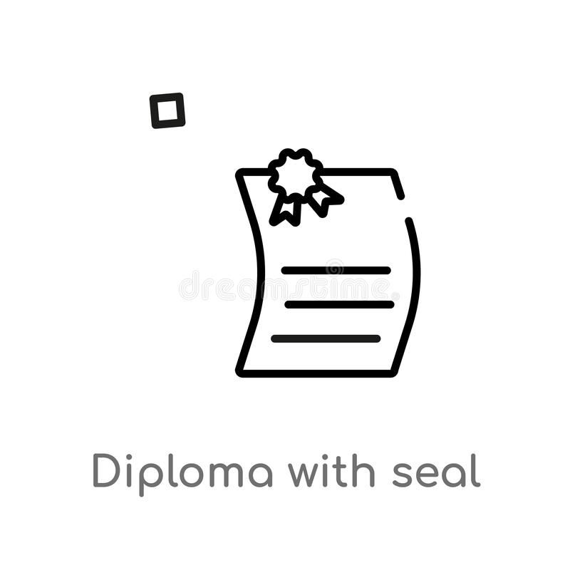 outline diploma with seal vector icon. isolated black simple line element illustration from education concept. editable vector vector illustration