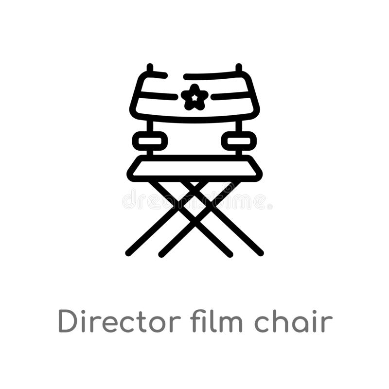 outline director film chair vector icon. isolated black simple line element illustration from cinema concept. editable vector vector illustration