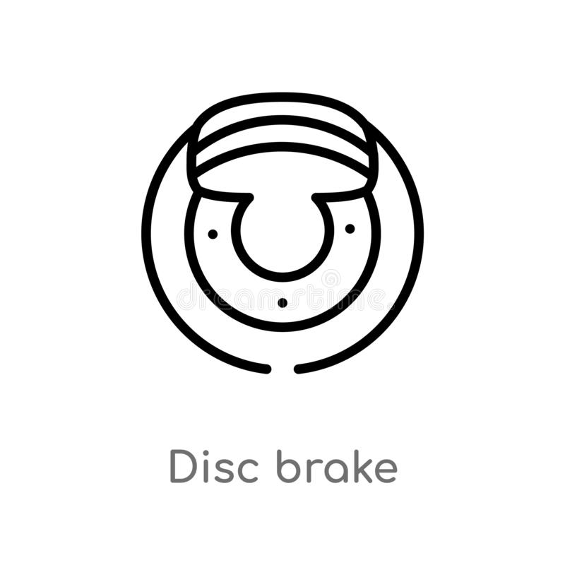 outline disc brake vector icon. isolated black simple line element illustration from transportation concept. editable vector stock illustration