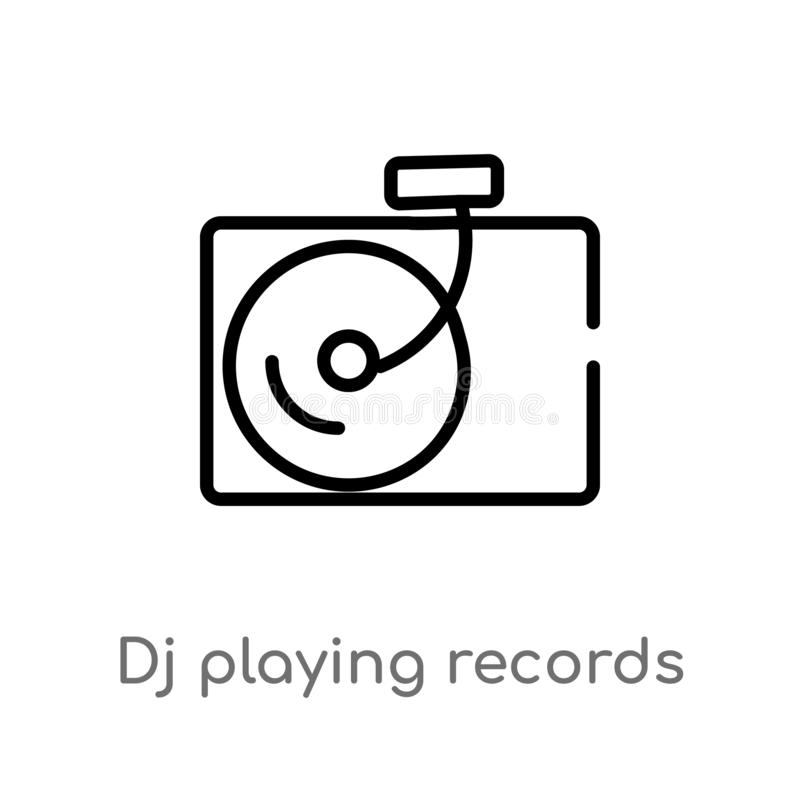 outline dj playing records vector icon. isolated black simple line element illustration from party concept. editable vector stroke stock illustration