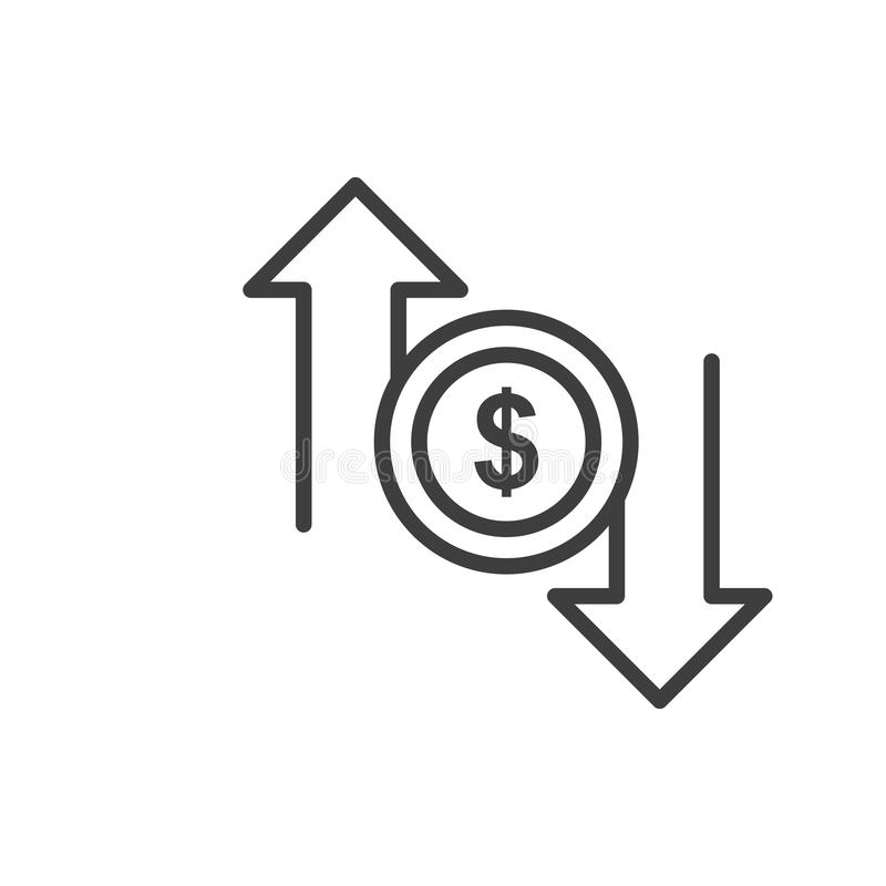 Simple Dollar flow isolated Graphic line vector illustration. editable Style in EPS 10 business concept. Outline Dollar flow graphic vector icon. isolated black vector illustration
