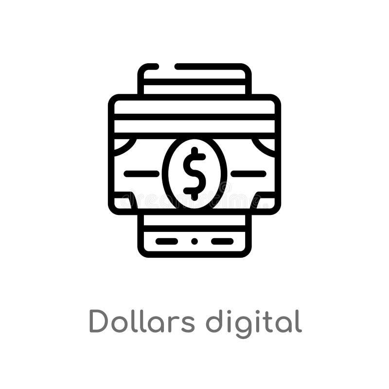 outline dollars digital commerce vector icon. isolated black simple line element illustration from commerce concept. editable vector illustration