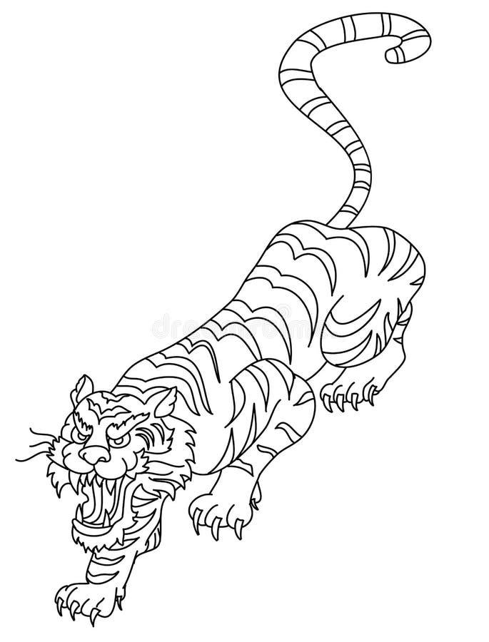 Out Line Art Design : Japanese tiger tattoo design vector stock