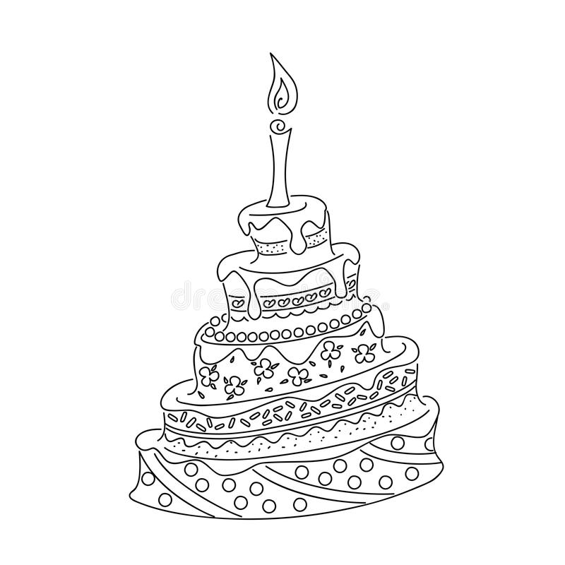 Outline doodle cake tier with candle. Sketch of monochrome cake for birthday card or children and adult coloring book. Isolated outline doodle cake with tier and royalty free illustration