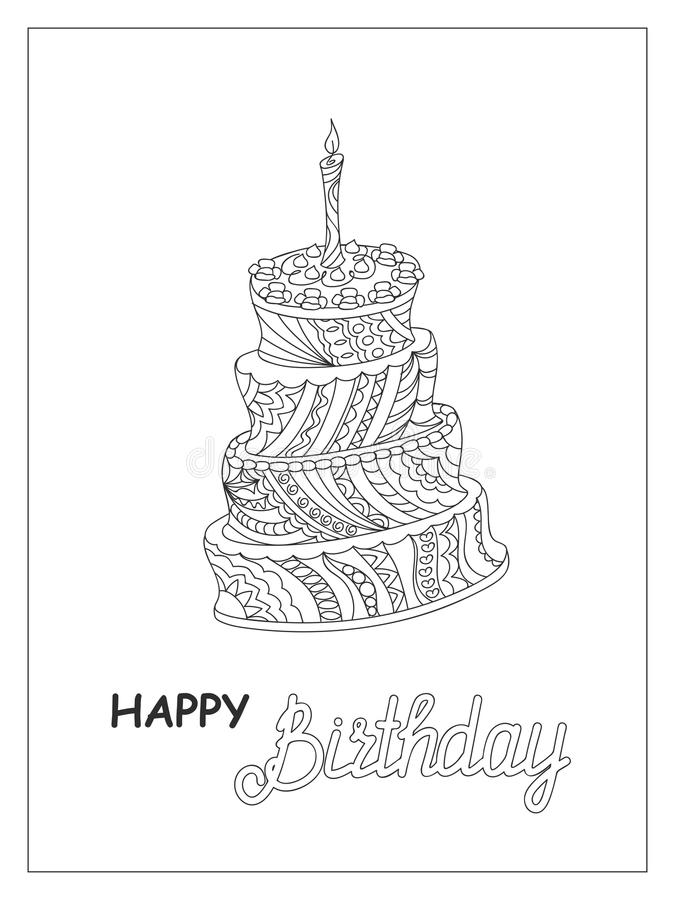 Outline doodle cake tier with candle and words. Sketch of monochrome cake patterned in zen style for birthday card or children and adult coloring book. Isolated stock illustration