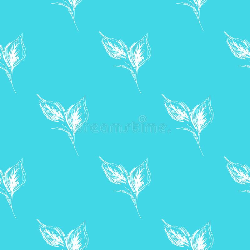 Outline doodle seamless leaves in line art style on blue background. Outline floral seamless pattern. Cute simple design. Hand vector illustration