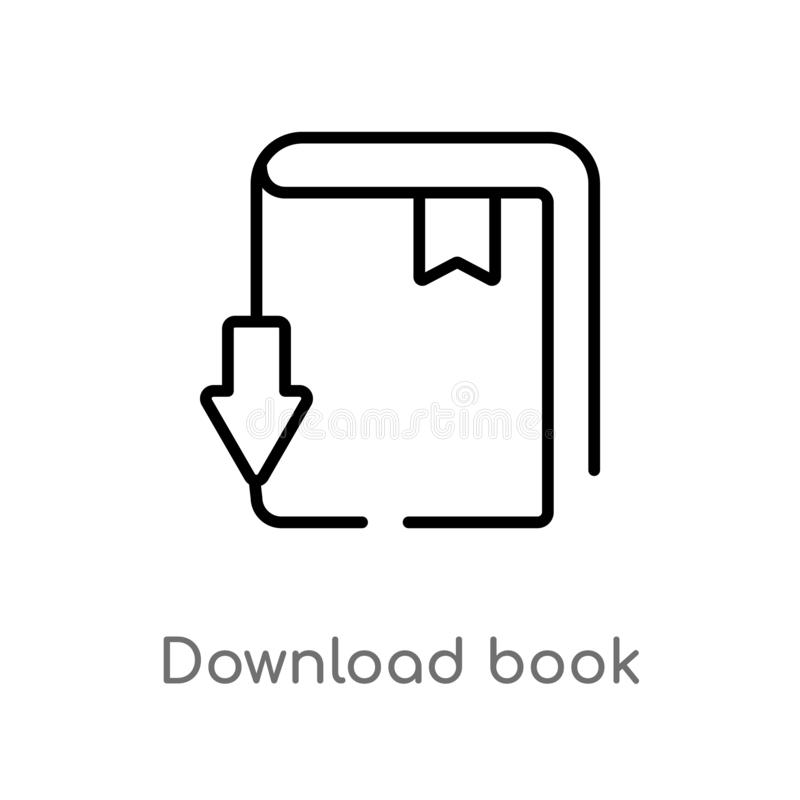 Outline download book vector icon. isolated black simple line element illustration from education concept. editable vector stroke. Download book icon on white stock illustration