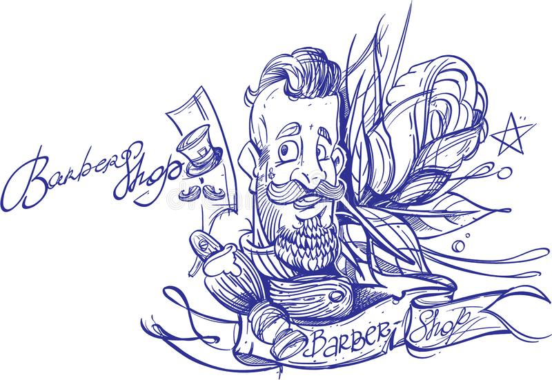 Outline drawing of a bearded man. Barbershop. Template for a poster or banner. A sketch of a tattoo vector illustration