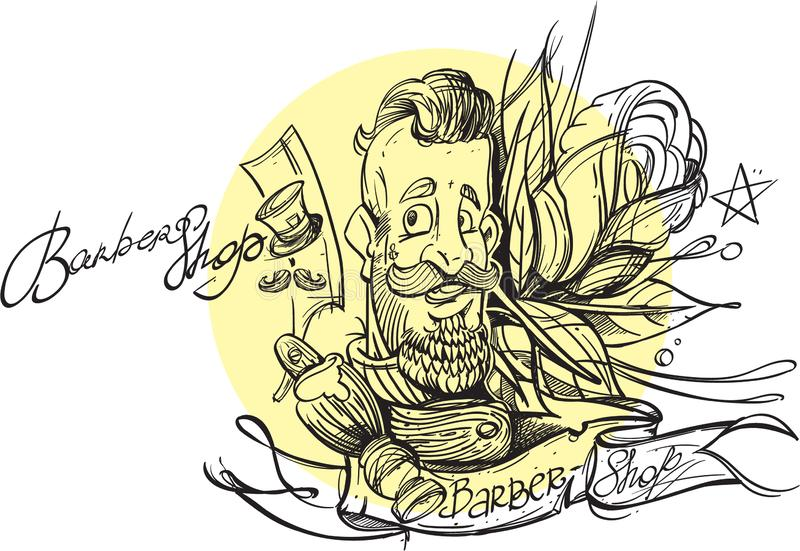 Outline drawing of a bearded man. Barbershop. Template for a poster or banner. A sketch of a tattoo royalty free illustration