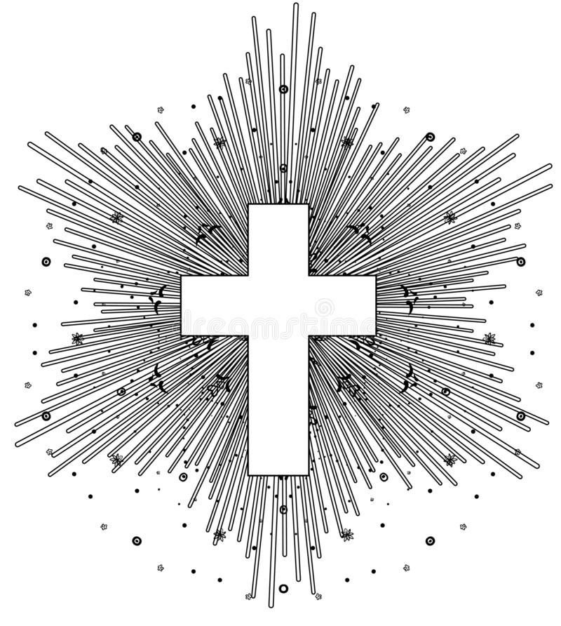 Outline drawing of catholic cross with rays of the sun in vintage style. Tattoo flesh design, yoga logo. Poster, t-shirt textile. stock illustration