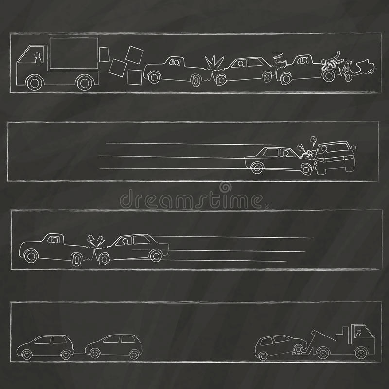 Outline drawing about crashed hand drawn on chalk board vector illustration