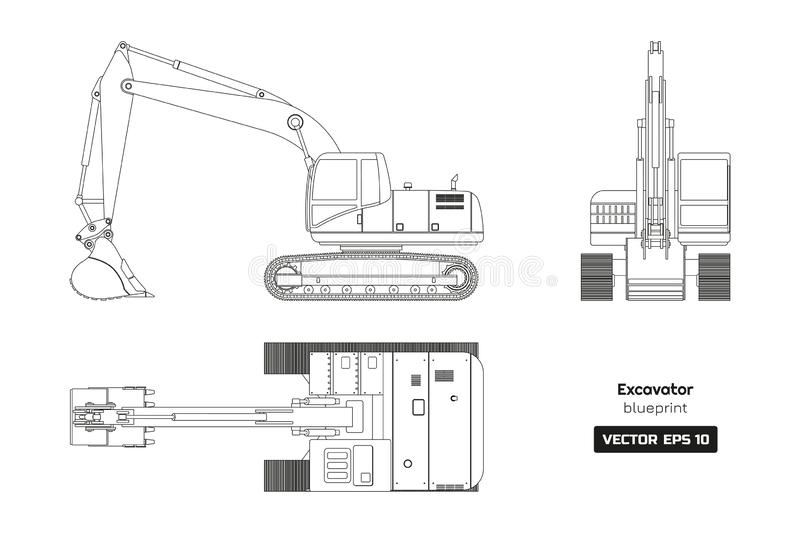 Outline drawing of excavator. Top, side and front view. Diesel blueprint. Hydraulic machinery. Industrial document vector illustration